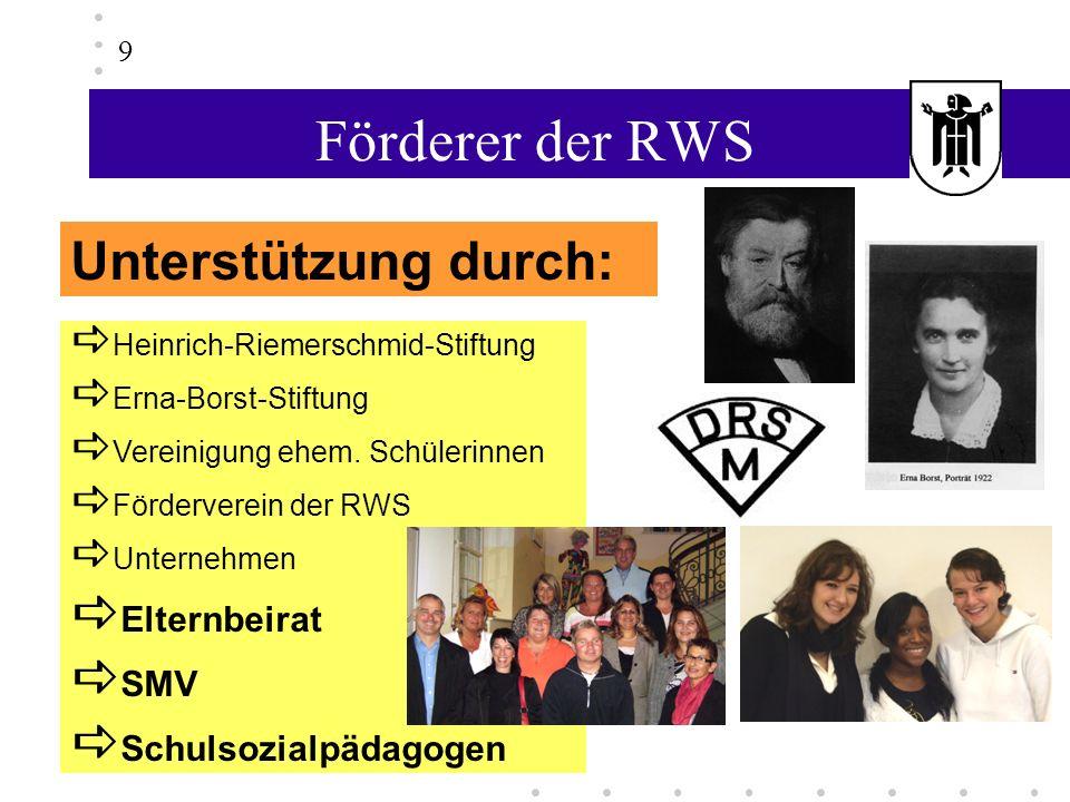 Förderer der RWS Heinrich-Riemerschmid-Stiftung Erna-Borst-Stiftung Vereinigung ehem. Schülerinnen Förderverein der RWS Unternehmen Elternbeirat SMV S