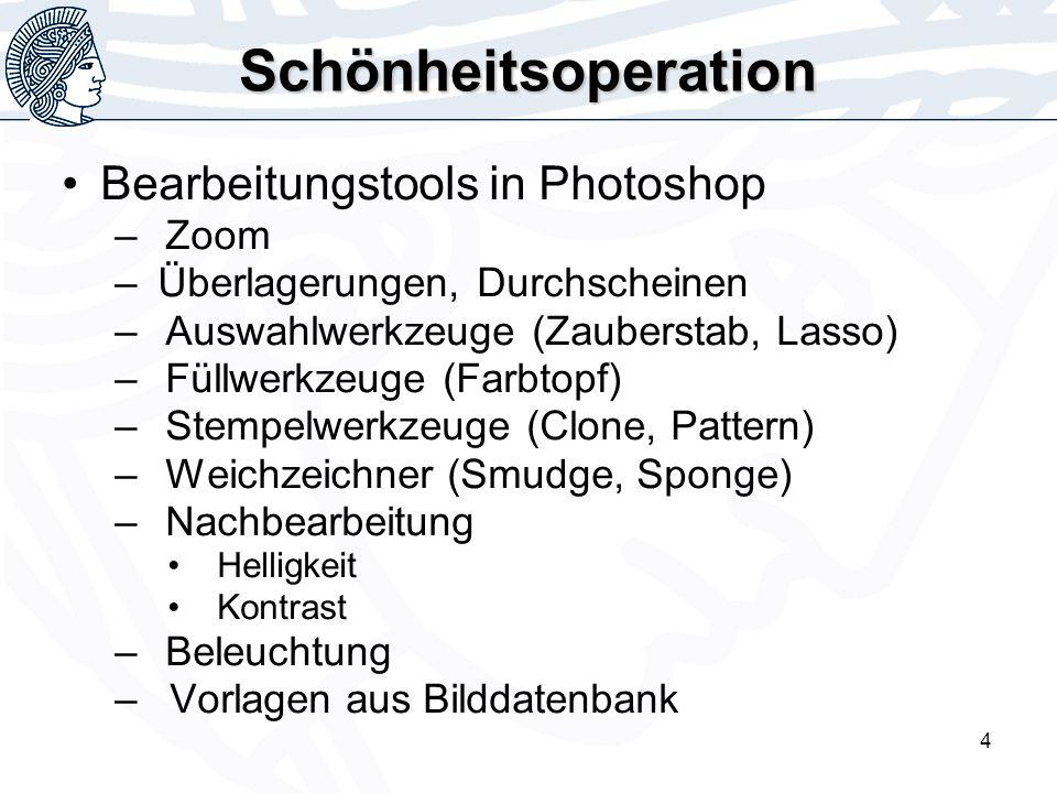4 Schönheitsoperation Bearbeitungstools in Photoshop –Zoom – Überlagerungen, Durchscheinen –Auswahlwerkzeuge (Zauberstab, Lasso) –Füllwerkzeuge (Farbtopf) –Stempelwerkzeuge (Clone, Pattern) –Weichzeichner (Smudge, Sponge) –Nachbearbeitung Helligkeit Kontrast –Beleuchtung – Vorlagen aus Bilddatenbank