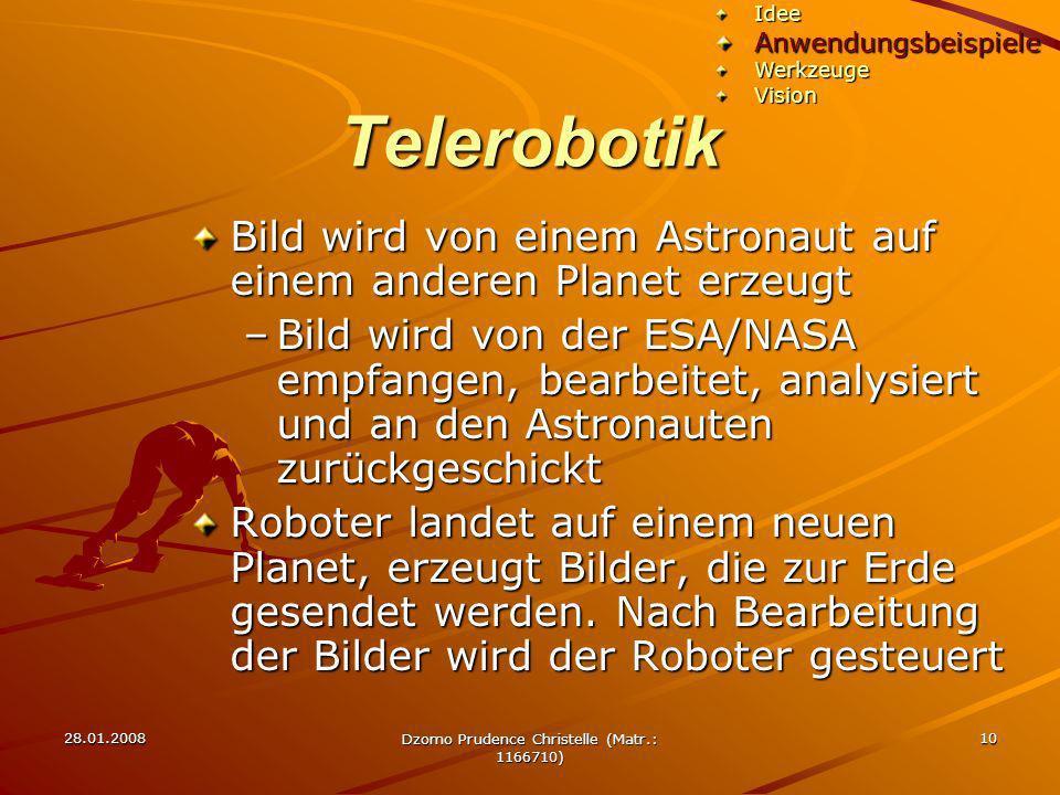 28.01.2008 Dzomo Prudence Christelle (Matr.: 1166710) 10 Telerobotik Bild wird von einem Astronaut auf einem anderen Planet erzeugt –Bild wird von der
