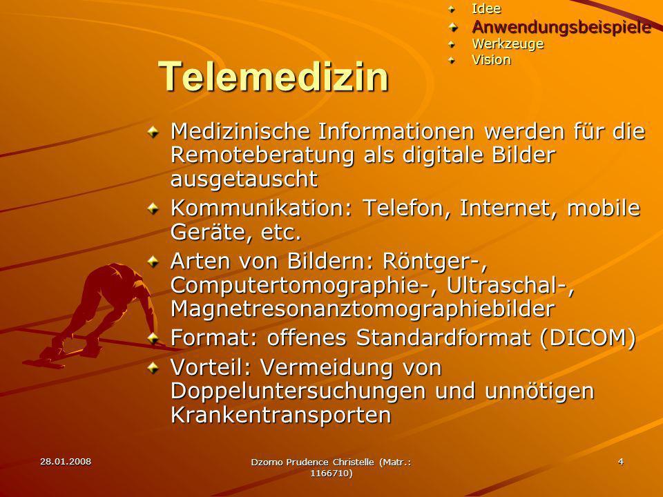 28.01.2008 Dzomo Prudence Christelle (Matr.: 1166710) 5 Telemedizin Anwendungsfelder Häusliche Betreuung TelemonitoringTelekonsultationTeleradiologieTeleausbildungTelechirurgieTelepathologieIdeeAnwendungsbeispieleWerkzeugeVision Adobe Extended C3S Extended