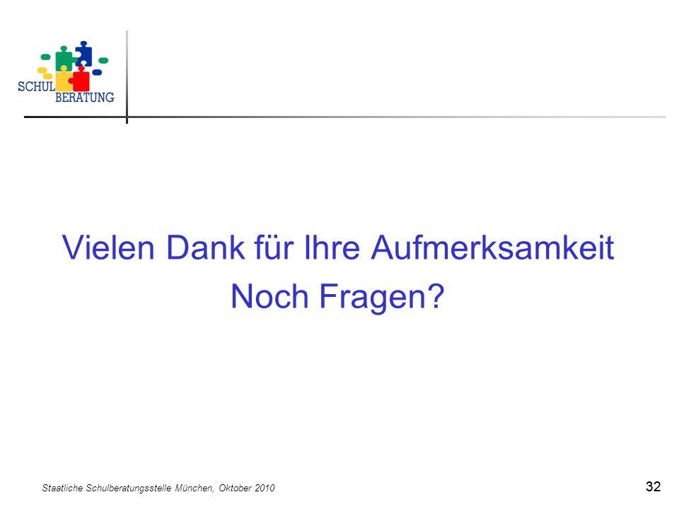 Staatliche Schulberatungsstelle München, Oktober 2010 32 Vielen Dank für Ihre Aufmerksamkeit Noch Fragen?