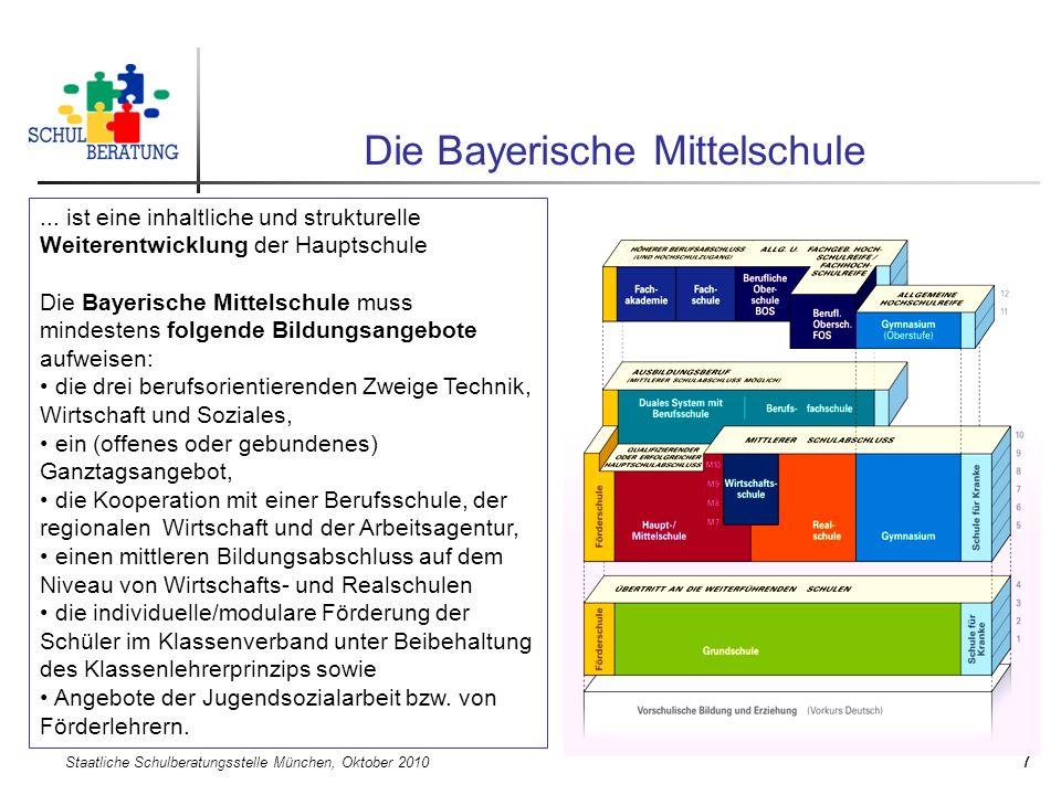 Staatliche Schulberatungsstelle München, Oktober 2010 7 Die Bayerische Mittelschule... ist eine inhaltliche und strukturelle Weiterentwicklung der Hau