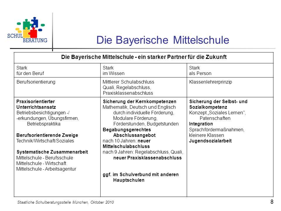 Staatliche Schulberatungsstelle München, Oktober 2010 8 Die Bayerische Mittelschule Die Bayerische Mittelschule - ein starker Partner für die Zukunft