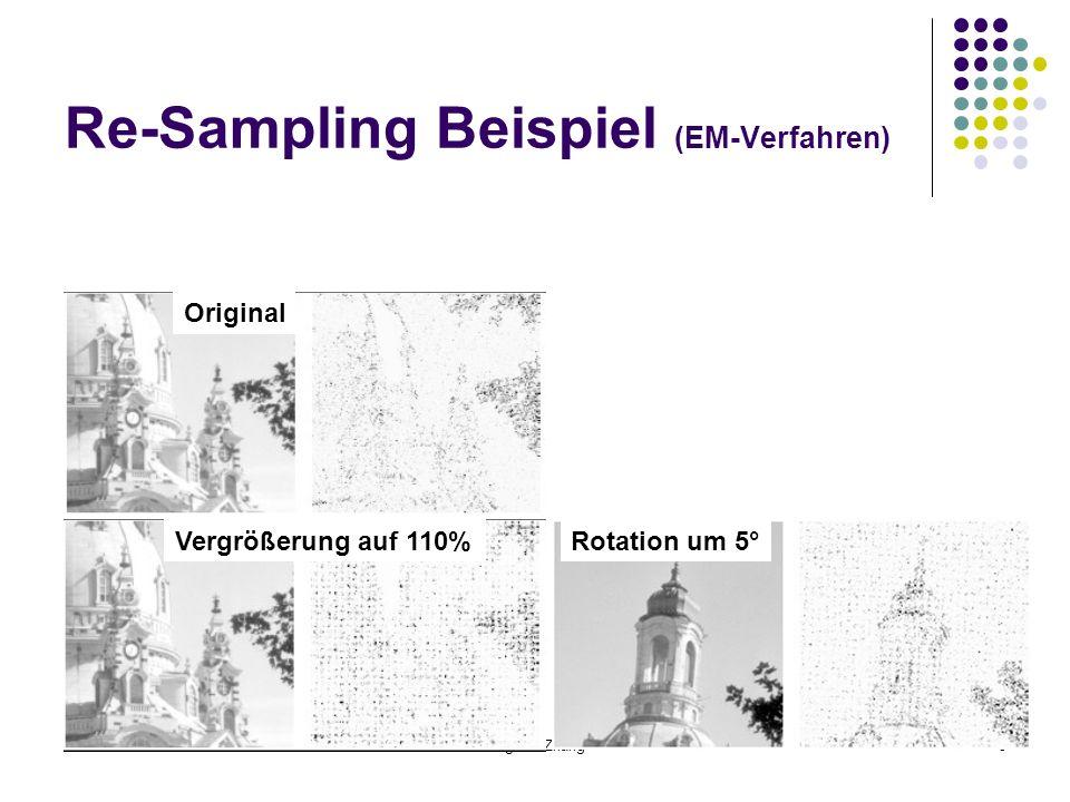 26.11.07Jingwen Zhang5 Re-Sampling Beispiel (EM-Verfahren) Original Vergrößerung auf 110%Rotation um 5°