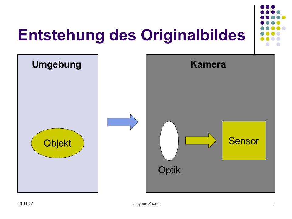 26.11.07Jingwen Zhang9 Beleuchtung und optische Merkmale Unterschiedliche Beleuchtungsrichtung Unterschiedliche Eigenschaften zu Spiegelung Beleuchtungsumgebung Chromatische Aberration Unterschiedliche Lichtbrechung für unterschiedliche Farben Signal-Rausch-Verhältnis Spezifisches Sensorrauschen