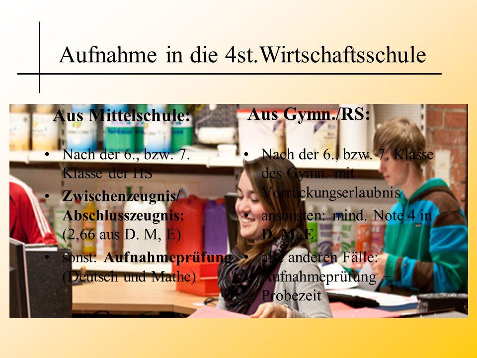 Nach der 6., bzw. 7. Klasse der HS Zwischenzeugnis/ Abschlusszeugnis: (2,66 aus D. M, E) sonst: Aufnahmeprüfung (Deutsch und Mathe) Nach der 6., bzw.