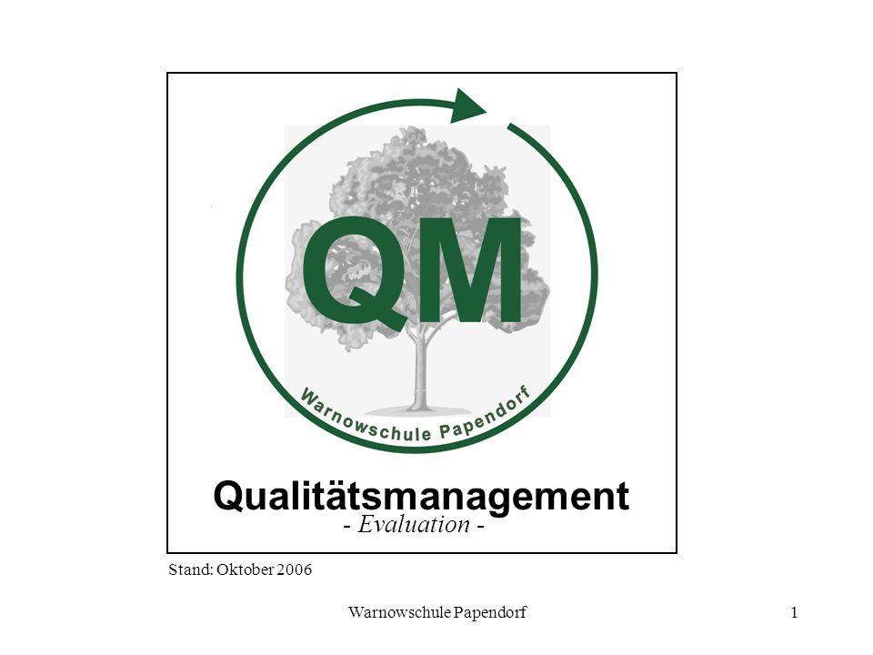 Warnowschule Papendorf1 Qualitätsmanagement - Evaluation - Stand: Oktober 2006