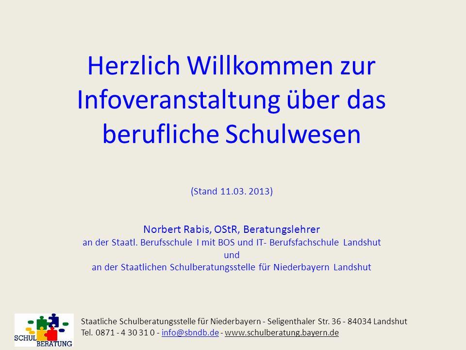 Herzlich Willkommen zur Infoveranstaltung über das berufliche Schulwesen (Stand 11.03. 2013) Norbert Rabis, OStR, Beratungslehrer an der Staatl. Beruf