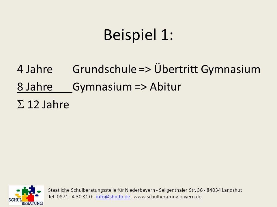 Beispiel 1: 4 JahreGrundschule => Übertritt Gymnasium 8 JahreGymnasium => Abitur 12 Jahre Staatliche Schulberatungsstelle für Niederbayern - Seligenth