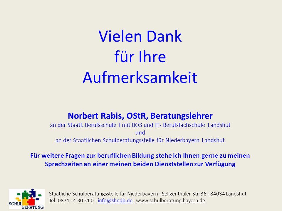 Vielen Dank für Ihre Aufmerksamkeit Norbert Rabis, OStR, Beratungslehrer an der Staatl. Berufsschule I mit BOS und IT- Berufsfachschule Landshut und a