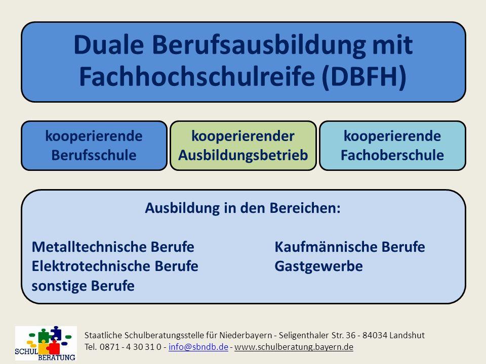 Duale Berufsausbildung mit Fachhochschulreife (DBFH) kooperierende Berufsschule kooperierender Ausbildungsbetrieb kooperierende Fachoberschule Staatli