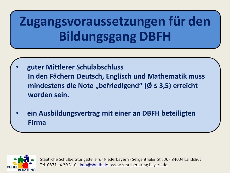 Zugangsvoraussetzungen für den Bildungsgang DBFH Staatliche Schulberatungsstelle für Niederbayern - Seligenthaler Str. 36 - 84034 Landshut Tel. 0871 -