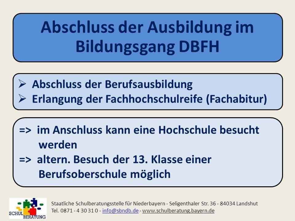 Abschluss der Ausbildung im Bildungsgang DBFH Staatliche Schulberatungsstelle für Niederbayern - Seligenthaler Str. 36 - 84034 Landshut Tel. 0871 - 4