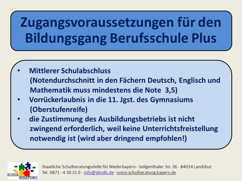 Zugangsvoraussetzungen für den Bildungsgang Berufsschule Plus Staatliche Schulberatungsstelle für Niederbayern - Seligenthaler Str. 36 - 84034 Landshu