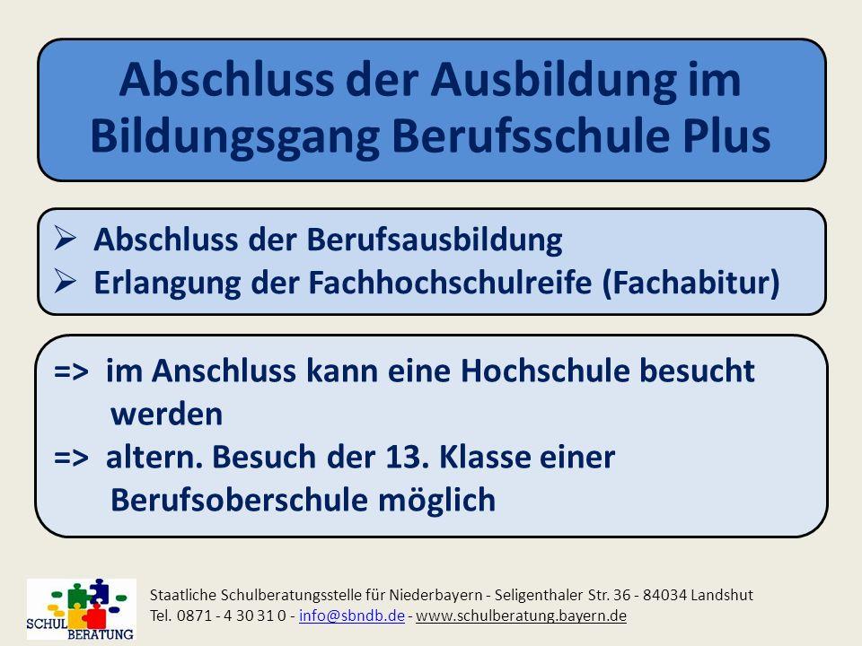 Abschluss der Ausbildung im Bildungsgang Berufsschule Plus Staatliche Schulberatungsstelle für Niederbayern - Seligenthaler Str. 36 - 84034 Landshut T