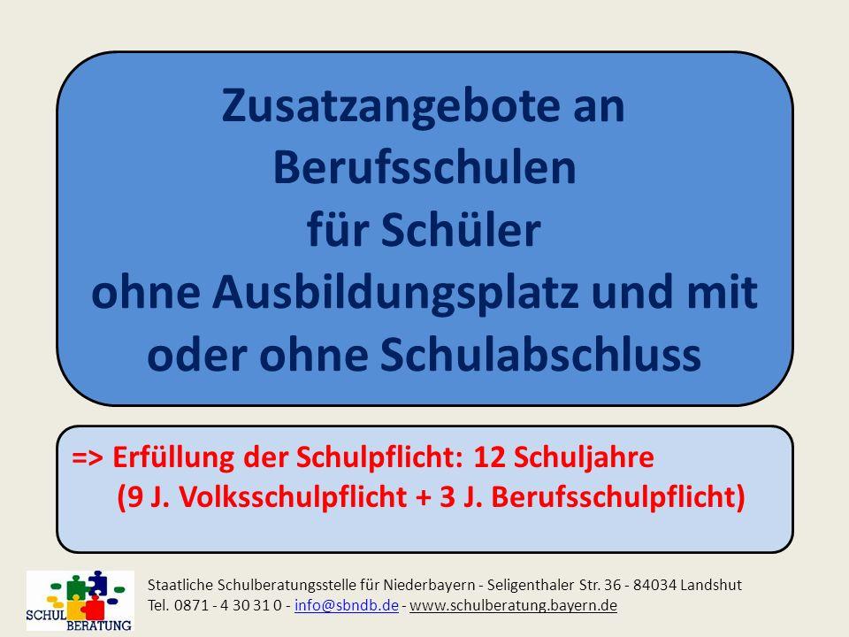 Zusatzangebote an Berufsschulen für Schüler ohne Ausbildungsplatz und mit oder ohne Schulabschluss Staatliche Schulberatungsstelle für Niederbayern -