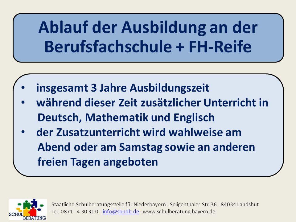 Ablauf der Ausbildung an der Berufsfachschule + FH-Reife Staatliche Schulberatungsstelle für Niederbayern - Seligenthaler Str. 36 - 84034 Landshut Tel