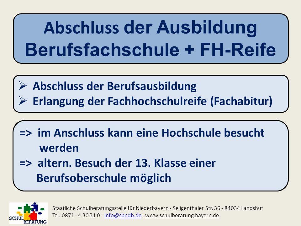 Abschluss der Ausbildung Berufsfachschule + FH-Reife Staatliche Schulberatungsstelle für Niederbayern - Seligenthaler Str. 36 - 84034 Landshut Tel. 08