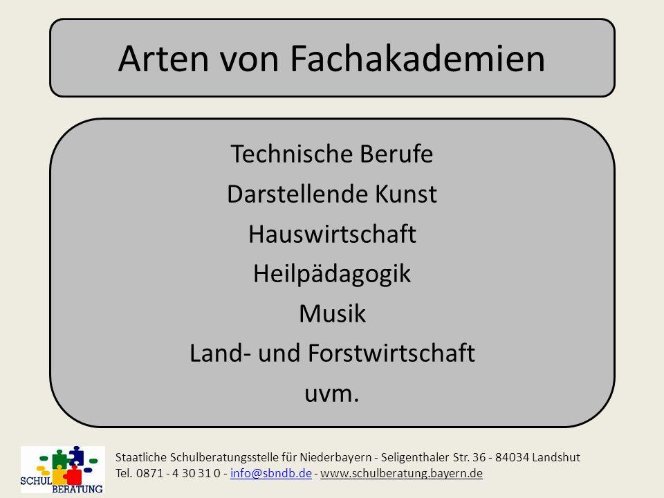 Arten von Fachakademien Technische Berufe Darstellende Kunst Hauswirtschaft Heilpädagogik Musik Land- und Forstwirtschaft uvm. Staatliche Schulberatun