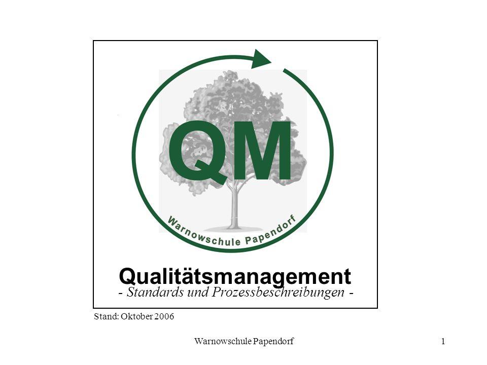 Warnowschule Papendorf1 Qualitätsmanagement - Standards und Prozessbeschreibungen - Stand: Oktober 2006