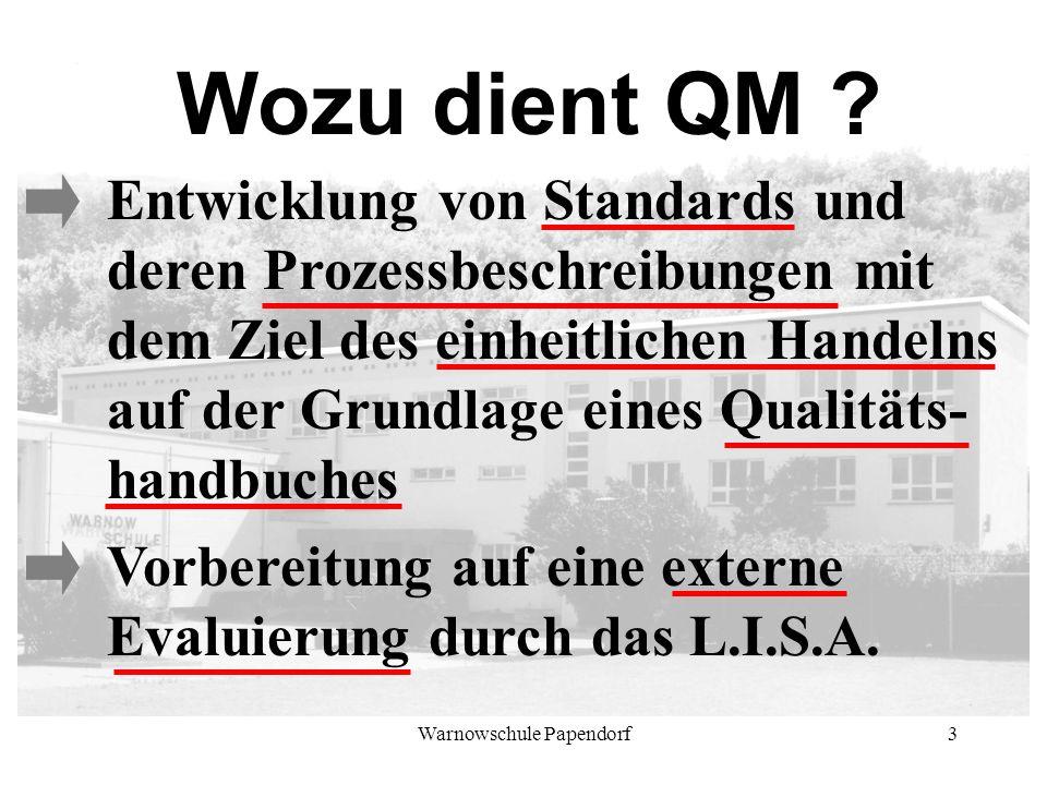 Warnowschule Papendorf3 Wozu dient QM ? Entwicklung von Standards und deren Prozessbeschreibungen mit dem Ziel des einheitlichen Handelns auf der Grun