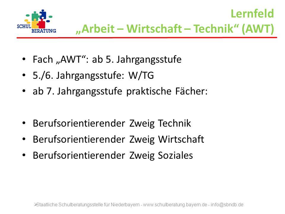 Lernfeld Arbeit – Wirtschaft – Technik (AWT) Fach AWT: ab 5. Jahrgangsstufe 5./6. Jahrgangsstufe: W/TG ab 7. Jahrgangsstufe praktische Fächer: Berufso
