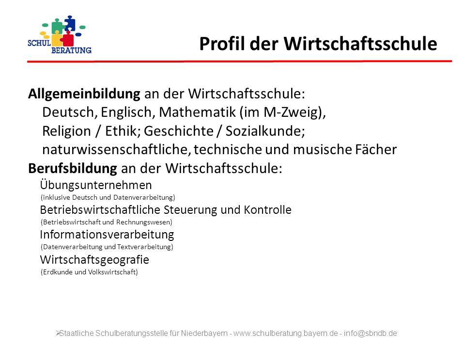 Profil der Wirtschaftsschule Allgemeinbildung an der Wirtschaftsschule: Deutsch, Englisch, Mathematik (im M-Zweig), Religion / Ethik; Geschichte / Soz