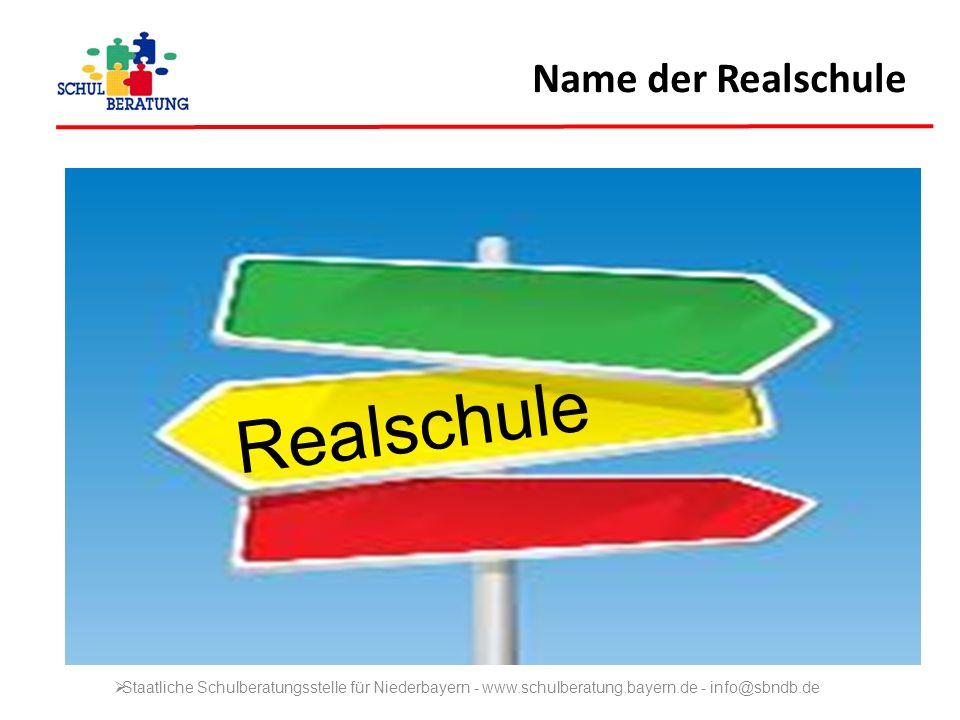 Name der Realschule Realschule Staatliche Schulberatungsstelle für Niederbayern - www.schulberatung.bayern.de - info@sbndb.de