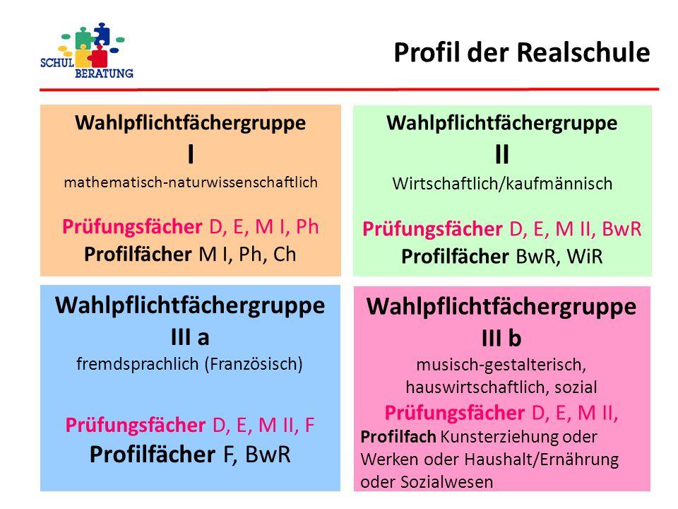 Profil der Realschule Wahlpflichtfächergruppe I mathematisch-naturwissenschaftlich Prüfungsfächer D, E, M I, Ph Profilfächer M I, Ph, Ch Wahlpflichtfä