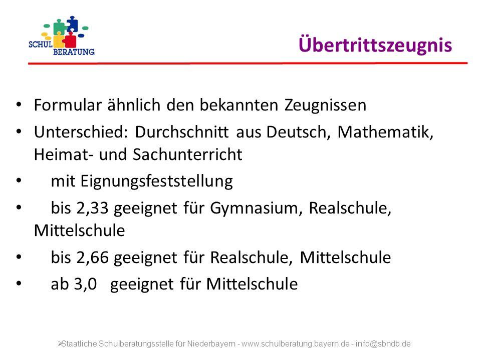 Formular ähnlich den bekannten Zeugnissen Unterschied: Durchschnitt aus Deutsch, Mathematik, Heimat- und Sachunterricht mit Eignungsfeststellung bis 2
