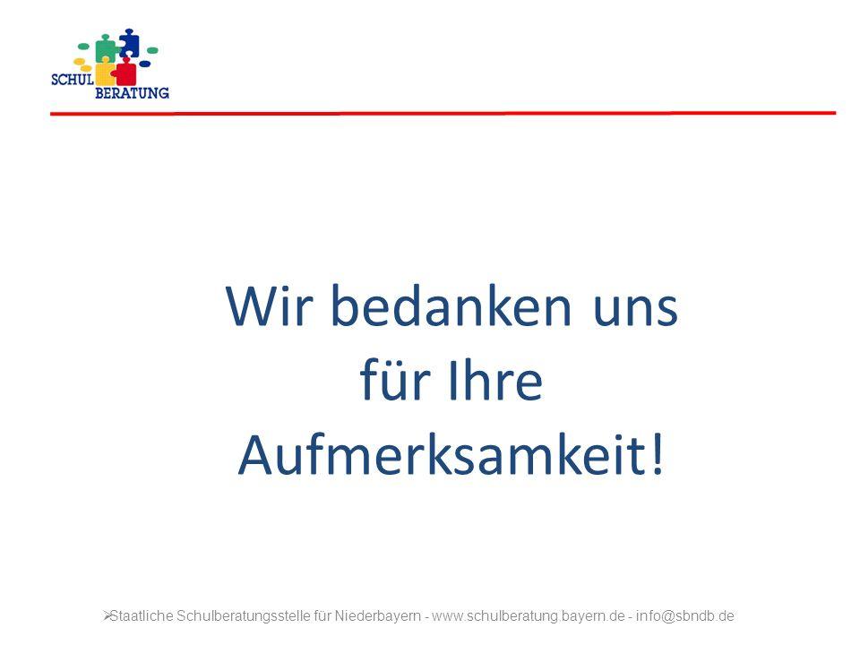 Wir bedanken uns für Ihre Aufmerksamkeit! Staatliche Schulberatungsstelle für Niederbayern - www.schulberatung.bayern.de - info@sbndb.de