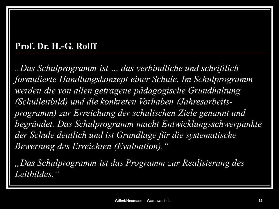 Willert/Neumann - Warnowschule14 Prof. Dr. H.-G. Rolff Das Schulprogramm ist … das verbindliche und schriftlich formulierte Handlungskonzept einer Sch