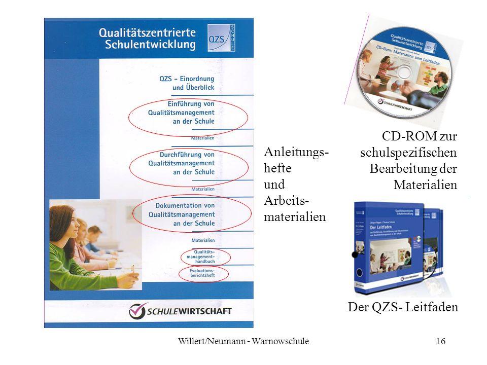 Willert/Neumann - Warnowschule16 CD-ROM zur schulspezifischen Bearbeitung der Materialien Der QZS- Leitfaden Anleitungs- hefte und Arbeits- materialie