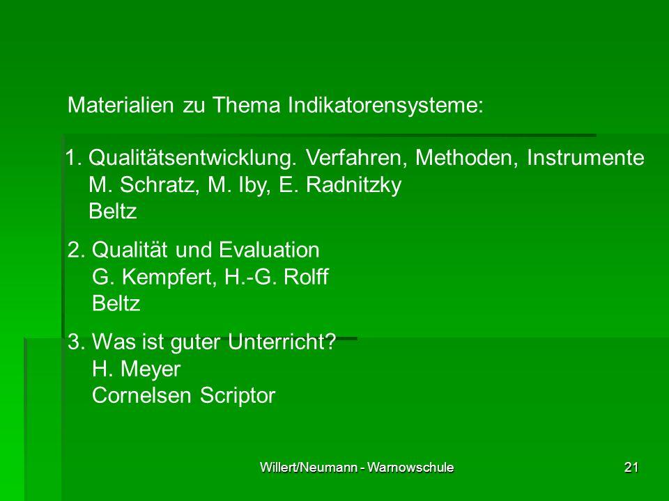 Willert/Neumann - Warnowschule21 Materialien zu Thema Indikatorensysteme: 1. Qualitätsentwicklung. Verfahren, Methoden, Instrumente M. Schratz, M. Iby