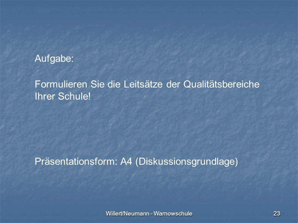 Willert/Neumann - Warnowschule23 Aufgabe: Formulieren Sie die Leitsätze der Qualitätsbereiche Ihrer Schule! Präsentationsform: A4 (Diskussionsgrundlag