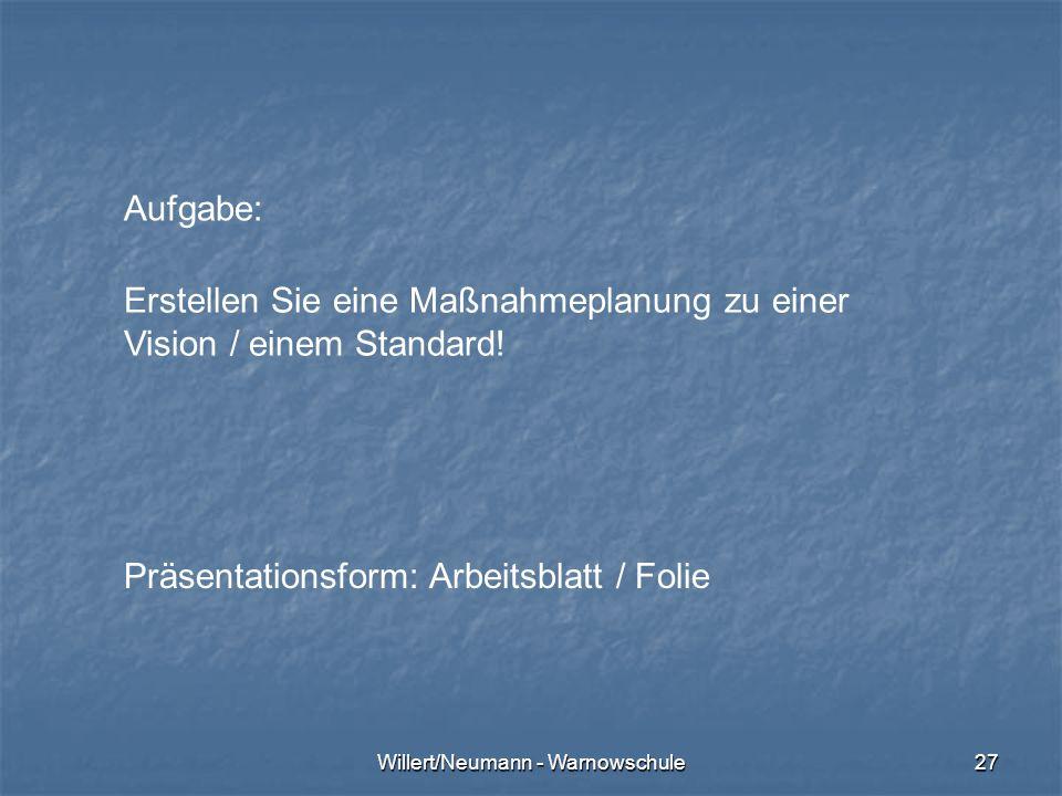 Willert/Neumann - Warnowschule27 Aufgabe: Erstellen Sie eine Maßnahmeplanung zu einer Vision / einem Standard! Präsentationsform: Arbeitsblatt / Folie