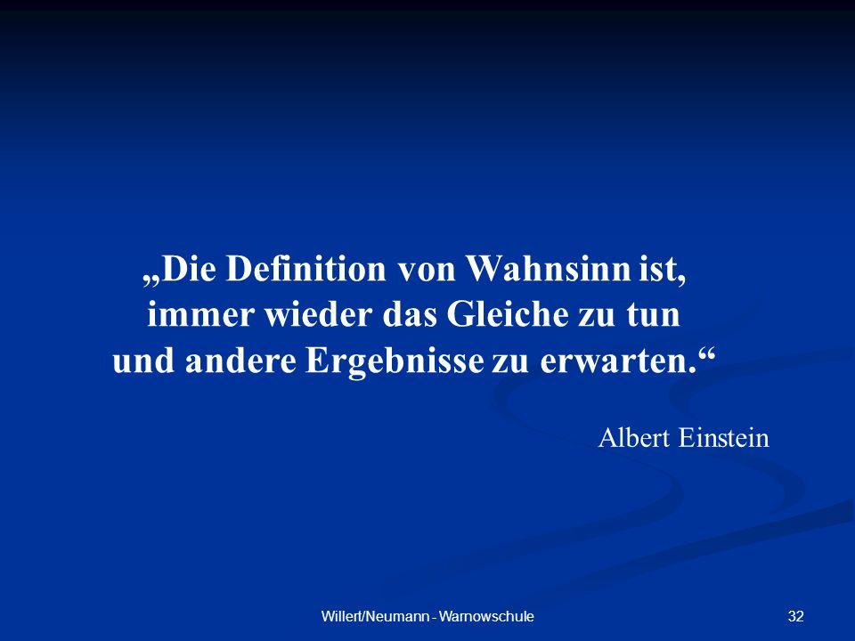 32Willert/Neumann - Warnowschule Die Definition von Wahnsinn ist, immer wieder das Gleiche zu tun und andere Ergebnisse zu erwarten. Albert Einstein