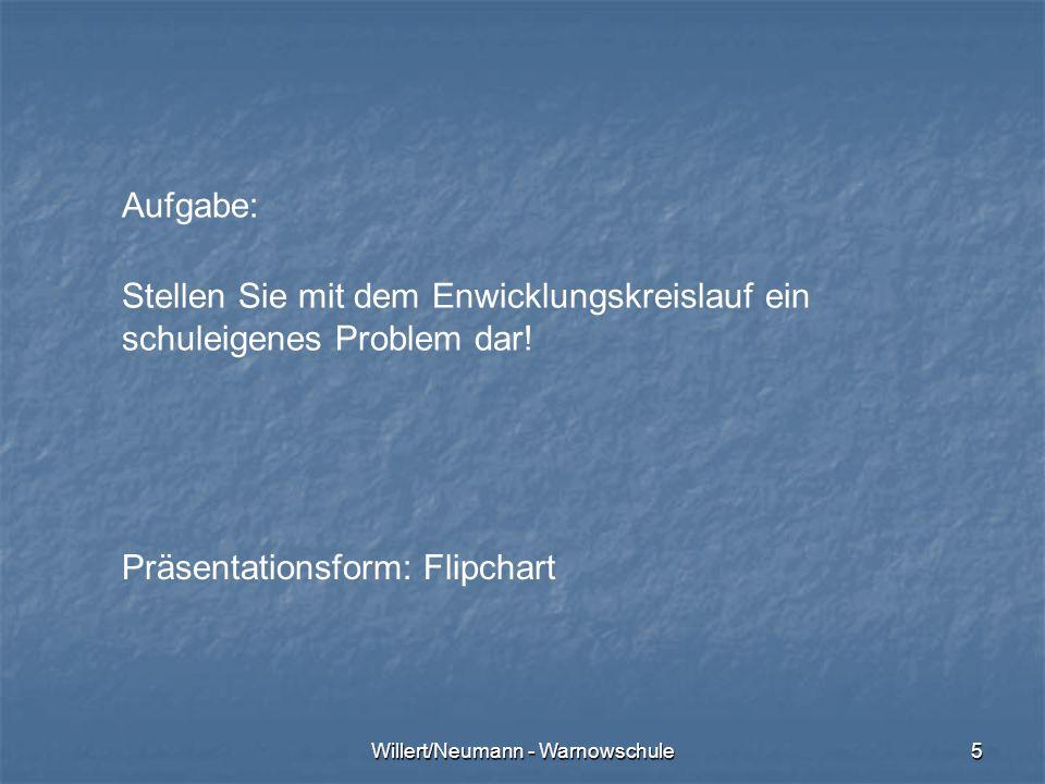 Willert/Neumann - Warnowschule5 Aufgabe: Stellen Sie mit dem Enwicklungskreislauf ein schuleigenes Problem dar! Präsentationsform: Flipchart