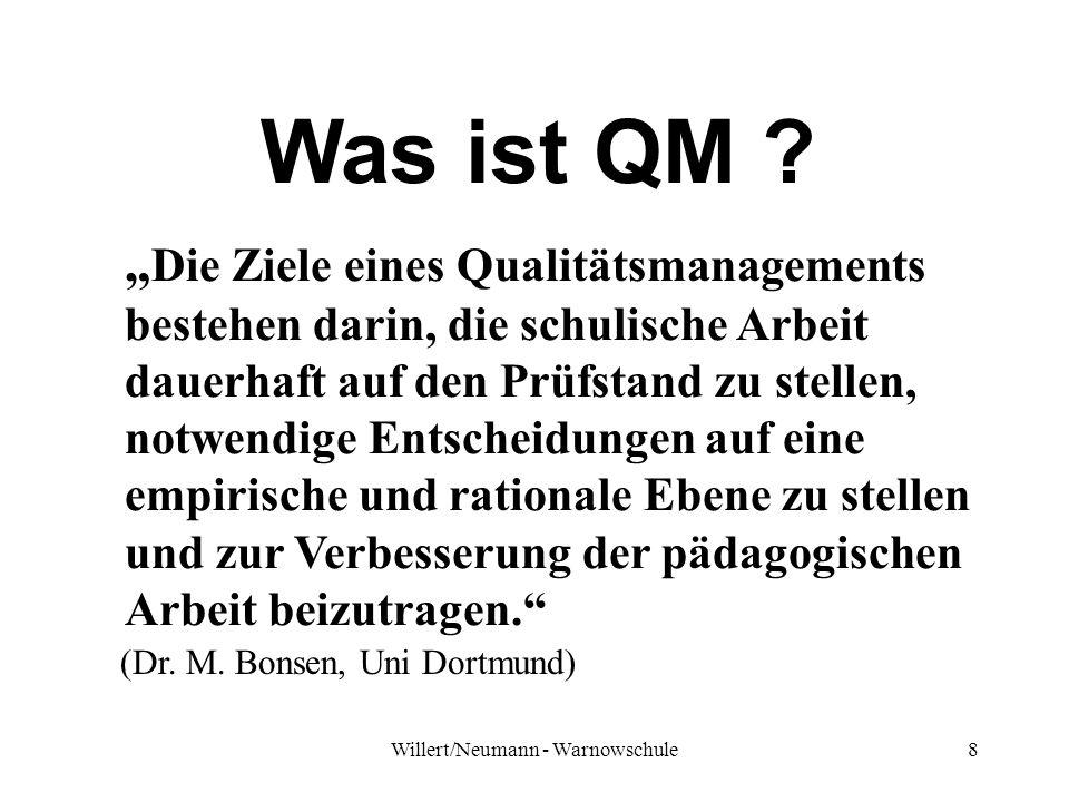 Willert/Neumann - Warnowschule8 Was ist QM ? Die Ziele eines Qualitätsmanagements bestehen darin, die schulische Arbeit dauerhaft auf den Prüfstand zu