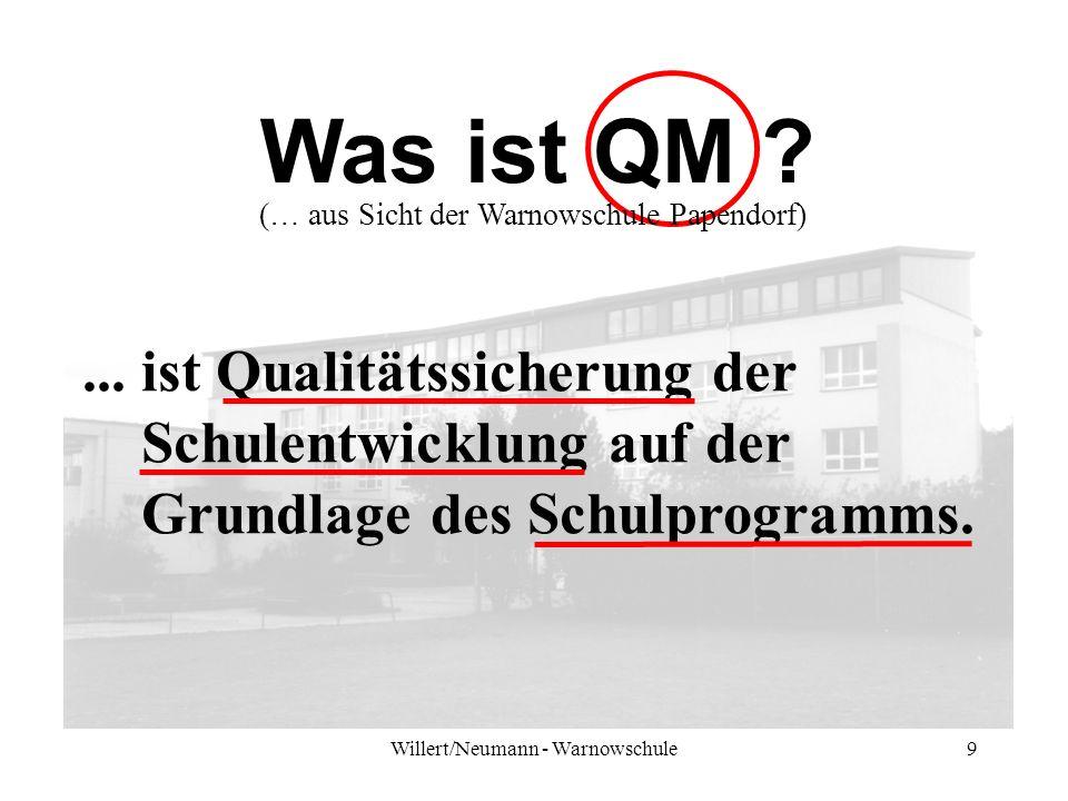 Willert/Neumann - Warnowschule9 Was ist QM ?... ist Qualitätssicherung der Schulentwicklung auf der Grundlage des Schulprogramms. (… aus Sicht der War