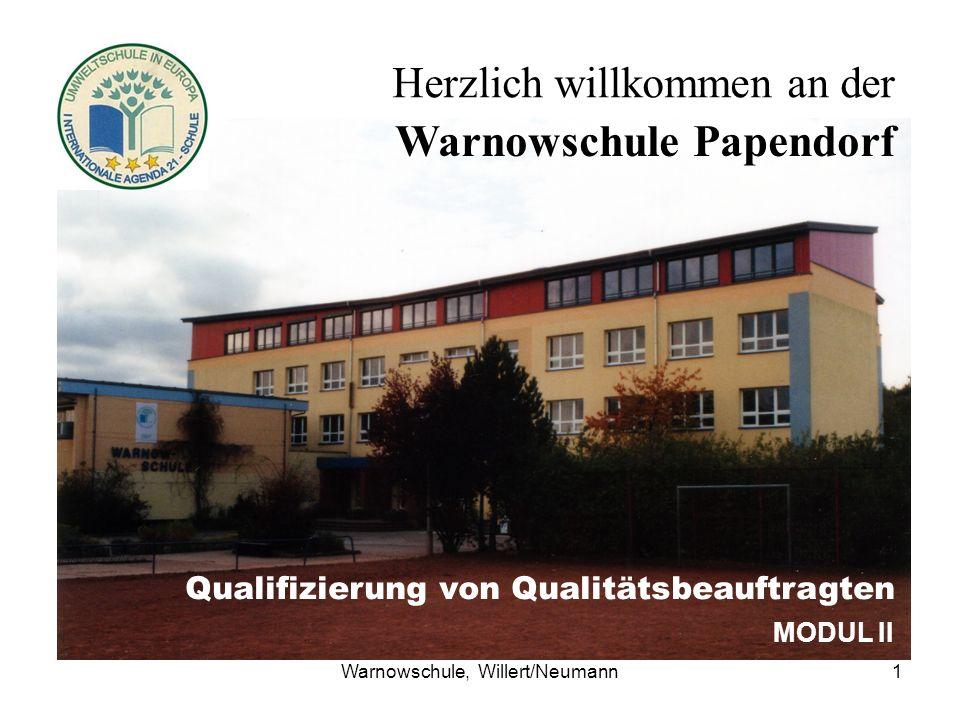 Warnowschule, Willert/Neumann1 Herzlich willkommen an der Warnowschule Papendorf Qualifizierung von Qualitätsbeauftragten MODUL II