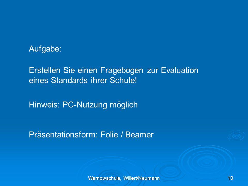 Warnowschule, Willert/Neumann10 Aufgabe: Erstellen Sie einen Fragebogen zur Evaluation eines Standards ihrer Schule.
