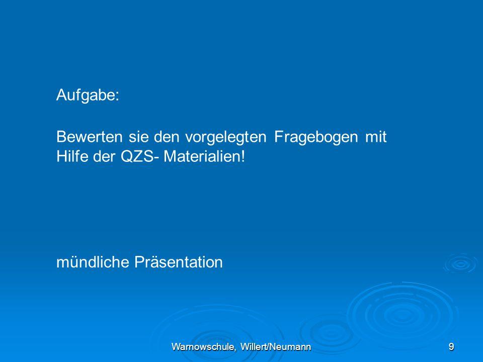 Warnowschule, Willert/Neumann9 Aufgabe: Bewerten sie den vorgelegten Fragebogen mit Hilfe der QZS- Materialien.