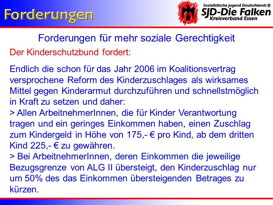Forderungen für mehr soziale Gerechtigkeit Die Sozialistische Jugend Deutschlands – Die Falken fordern: Studiengebührenfreiheit für das Erststudium Der Kreisverband Essen der SJD – Die Falken setzt sich dafür ein, dass das Erststudium Studiengebühren frei ist.