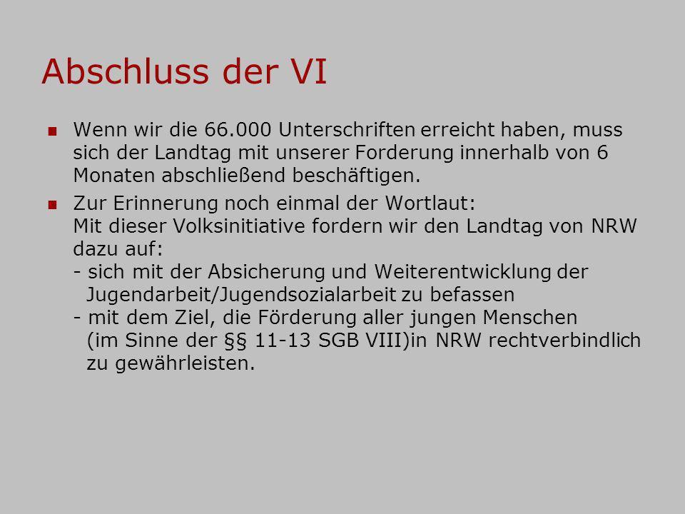 Abschluss der VI Wenn wir die 66.000 Unterschriften erreicht haben, muss sich der Landtag mit unserer Forderung innerhalb von 6 Monaten abschließend b