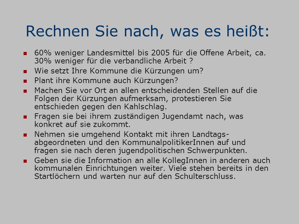 Zentrale Aktionen: Am 27.11.03, 15.00 Uhr Start der VI mit einer Veranstaltung am Düsseldorfer Rathaus.