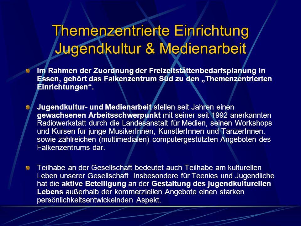 Themenzentrierte Einrichtung Jugendkultur & Medienarbeit Im Rahmen der Zuordnung der Freizeitstättenbedarfsplanung in Essen, gehört das Falkenzentrum Süd zu den Themenzentrierten Einrichtungen.