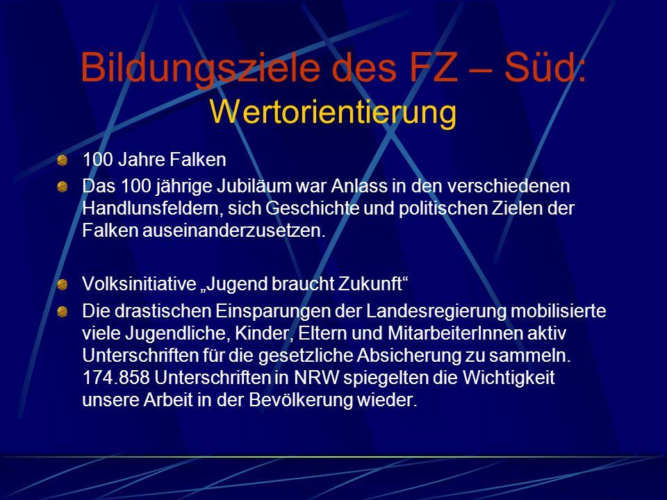 Bildungsziele des FZ – Süd: Wertorientierung 100 Jahre Falken Das 100 jährige Jubiläum war Anlass in den verschiedenen Handlunsfeldern, sich Geschichte und politischen Zielen der Falken auseinanderzusetzen.