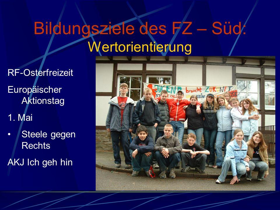 Bildungsziele des FZ – Süd: Wertorientierung RF-Osterfreizeit Europäischer Aktionstag 1.