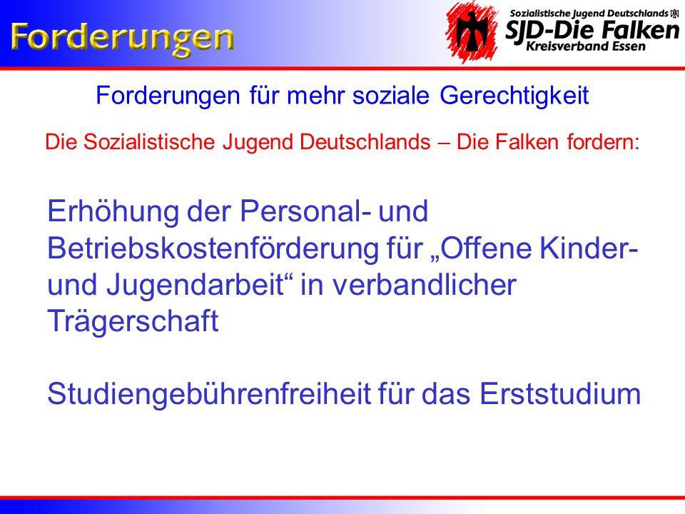 Forderungen für mehr soziale Gerechtigkeit Die Sozialistische Jugend Deutschlands – Die Falken fordern: Erhöhung der Personal- und Betriebskostenförde
